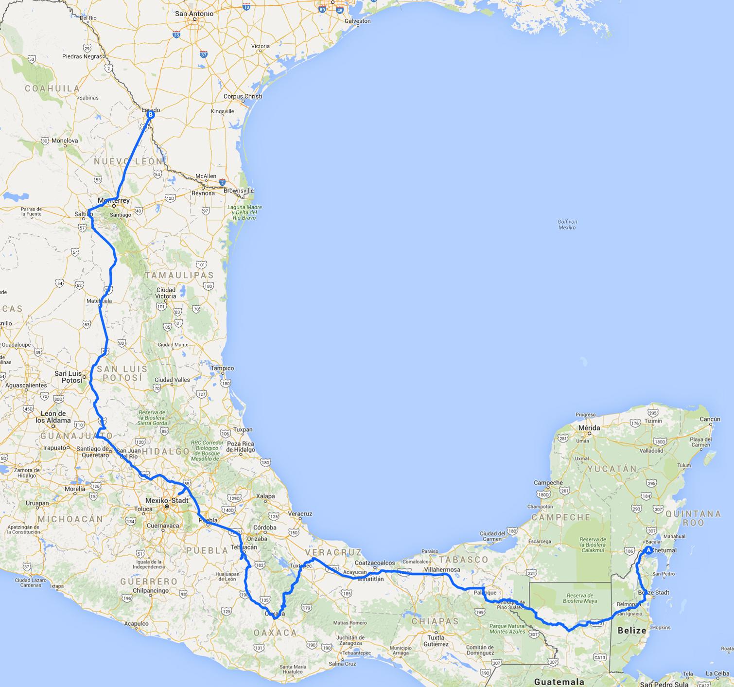 mexiko amerika guatemala karte